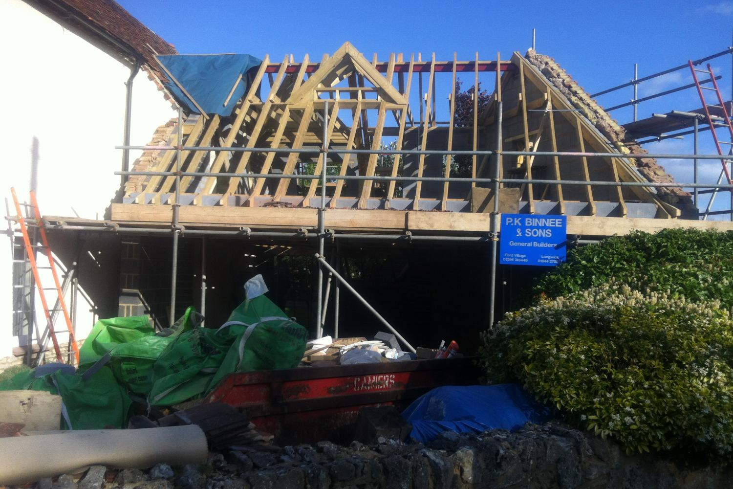 Roof of Haddenham Cottage listed building conversion