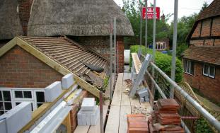 Constuction image of two storey extension to cottage in Monks Risborough